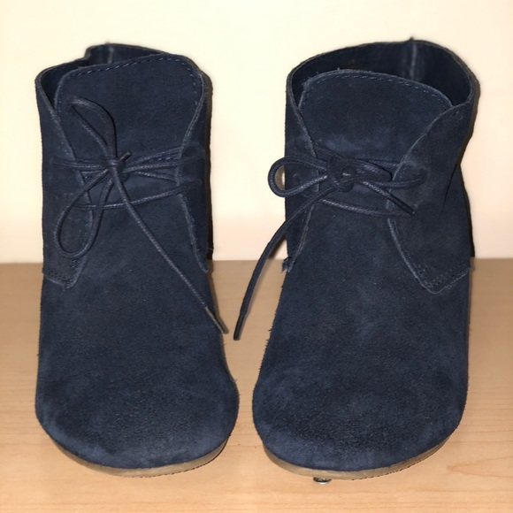 Crown vintage blue tie up wedge heel booties
